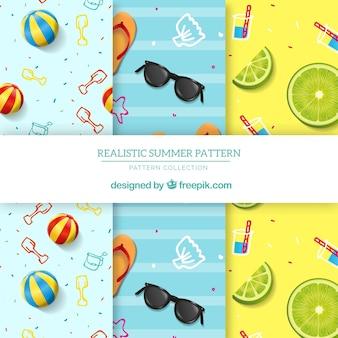 Kolekcja wzorów letnich z płaskich elementów