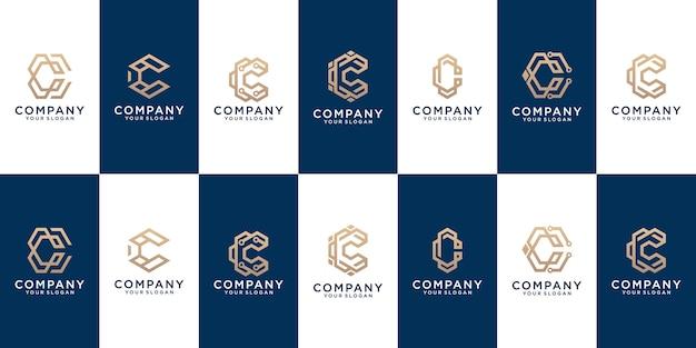 Kolekcja wzorów logo na literę c w abstrakcyjnym złotym kolorze
