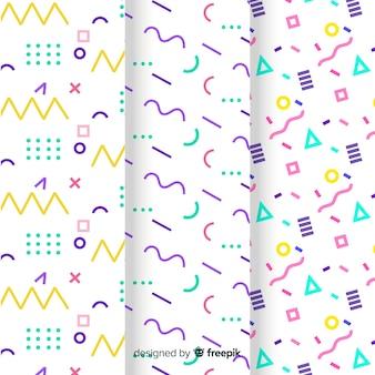 Kolekcja wzorów memphis o różnych kształtach i kolorach