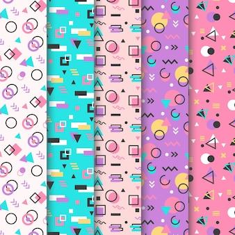 Kolekcja wzorów memphis w pastelowych kolorach