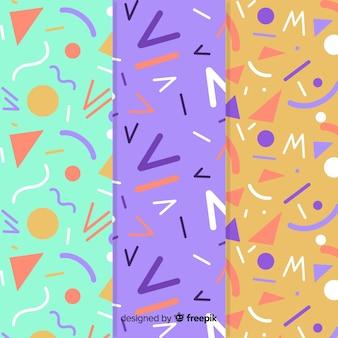 Kolekcja wzorów memphis z różnorodnymi kolorami tła
