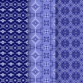 Kolekcja wzorów niebieski songket