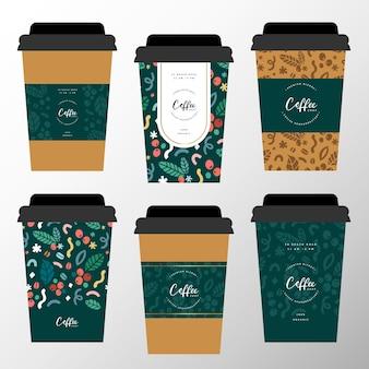 Kolekcja wzorów papierowych filiżanek do kawy