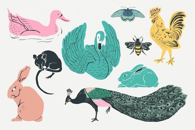 Kolekcja wzorów szablonów ze zwierzętami w stylu vintage