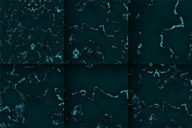 Kolekcja wzorów tekstury marmuru w kolorze czarnym