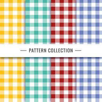 Kolekcja wzorów vichy w różnych kolorach