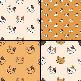 Kolekcja wzorów z atramentowym kotem na szczęście (maneki neko) na złotym i beżowym tle.