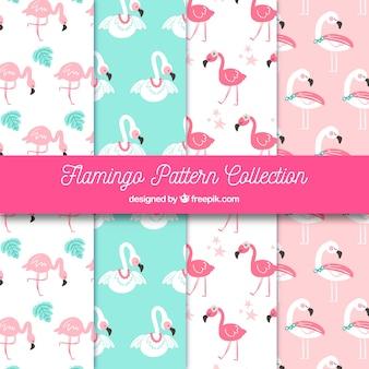 Kolekcja wzory flamingi w stylu wyciągnąć rękę