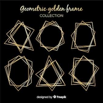 Kolekcja złote geometryczne ramki