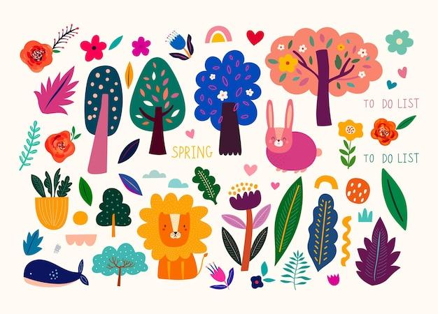 Kolekcja z kwiatami, drzewami, liśćmi i zwierzętami. dekoracyjne kolorowe naklejki i gryzmoły. ręcznie rysowana nowoczesna ilustracja