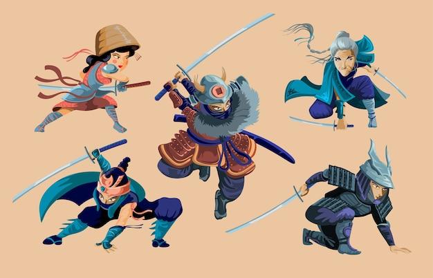 Kolekcja z postaciami wojowników ninja, samurajów, japońskiej dziewczyny i starej kobiety.zestaw animowanych wojowników ninja samurajów z zestawami postaci miecza. ilustracja na białym tle.