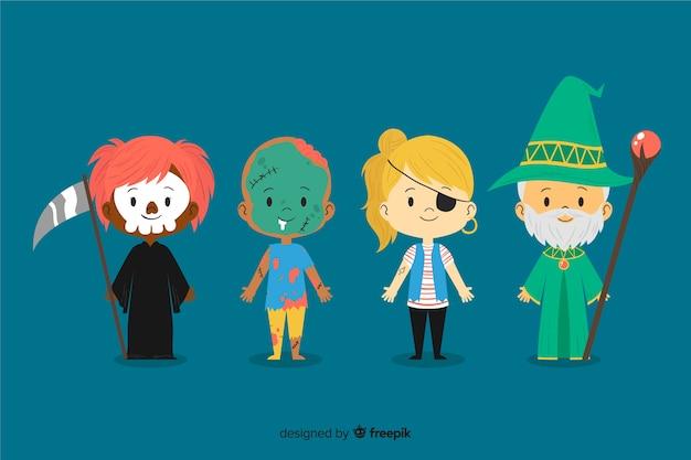 Kolekcja z ręcznie rysowane halloween dziecko