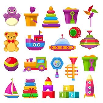 Kolekcja zabawek dla dzieci na białym tle