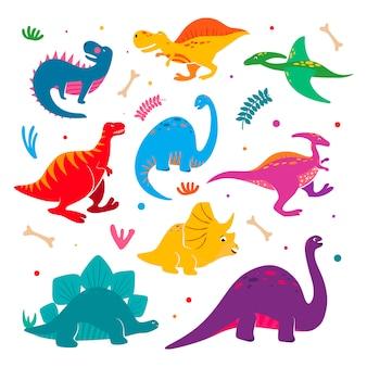 Kolekcja zabawnych dinozaurów.