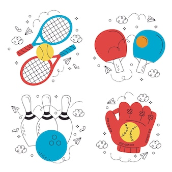 Kolekcja zabawnych naklejek sportowych