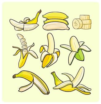 Kolekcja zabawnych obranych bananów w prostym stylu doodle