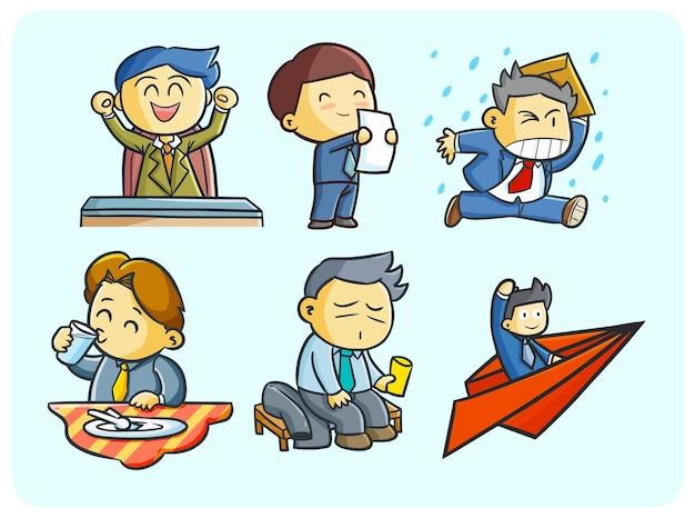 Kolekcja zabawnych pracowników w wielu pozach w stylu doodle kawaii