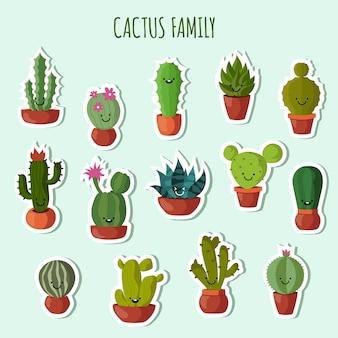 Kolekcja zabawnych roślin. śliczny kaktus z szczęśliwych twarzy ogrodowymi łatami lub majcherami ustawiającymi