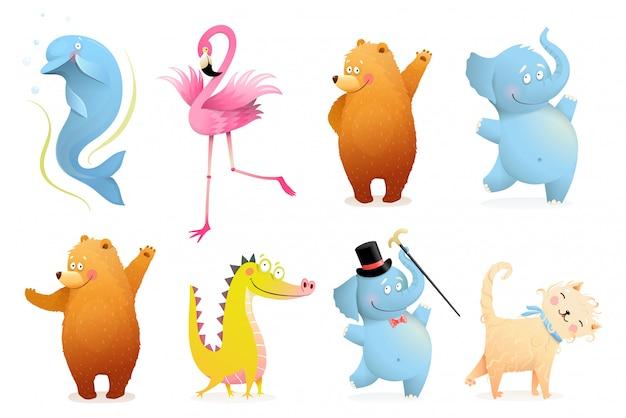 Kolekcja zabawnych zwierzątek dla dzieci. urocze kolorowe zwierzęta clipart na białym tle niedźwiedź, słoń, flaming, delfin, krokodyl lub dinozaur i kot lub kociak. izolowane clipart.