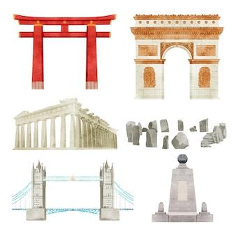 Kolekcja zabytków akwarela