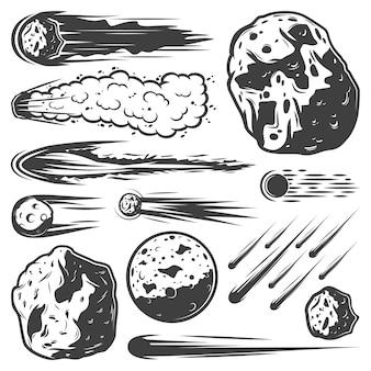 Kolekcja zabytkowych meteorów ze spadającymi asteroidami komet i meteorytami o różnych kształtach na białym tle