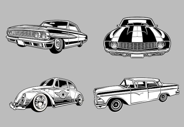 Kolekcja zabytkowych mięśni i klasycznych samochodów w monochromatycznych samochodach w stylu retro