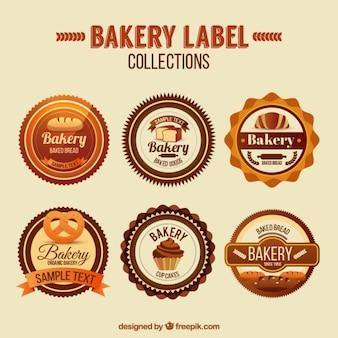 Kolekcja zaokrąglonym etykiecie piekarni w stylu vintage