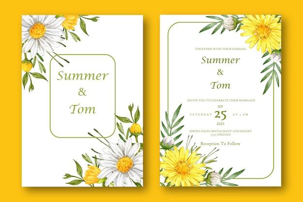 Kolekcja zaproszenia ślubne z kwiatem aster