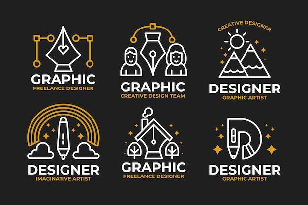Kolekcja zarysowane logo projektanta graficznego w płaskiej konstrukcji