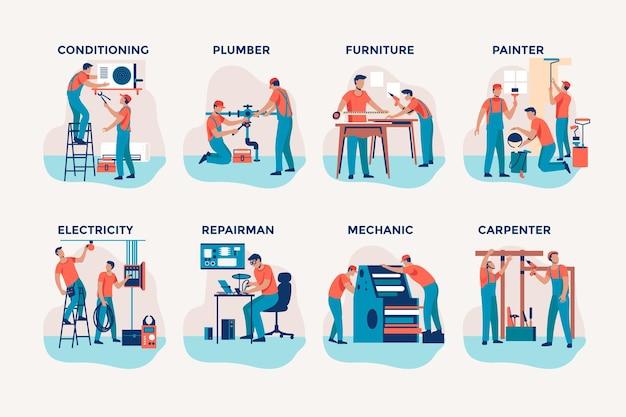 Kolekcja zawodów domowych i remontowych
