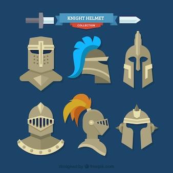 Kolekcja zbroi rycerzy w płaskim stylu