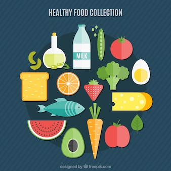 Kolekcja zdrowej żywności w płaskiej konstrukcji