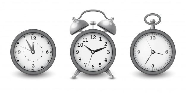 Kolekcja zegarków i budzika w kolorze srebrnym. ilustracja.