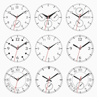 Kolekcja zegarków. zestaw tarcz ze strzałką sekund.