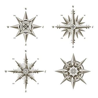 Kolekcja żeglarskich zabytkowych znaków kompasu.