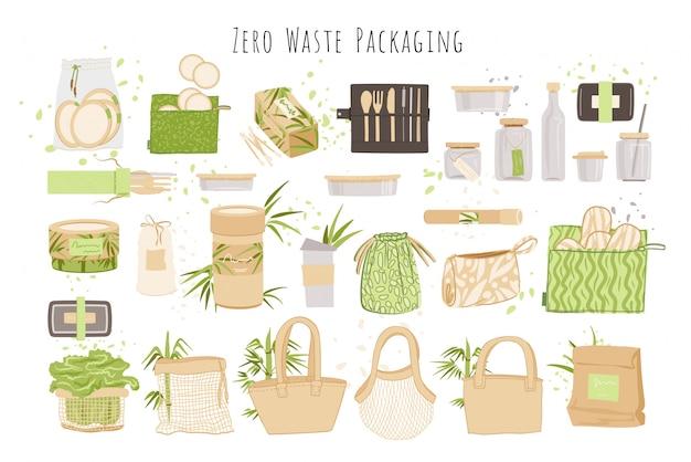 Kolekcja zero waste w stylu minimalizmu, z produktami wielokrotnego użytku i recyklingu zero waste