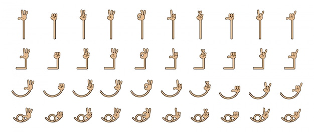 Kolekcja zestaw gest ręki kreskówka pięć palców. ręka i ramię w oddzielonej grupie.
