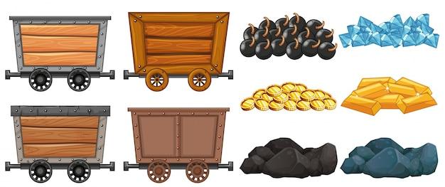 Kolekcja zestaw górniczych koszyka granit ładunku