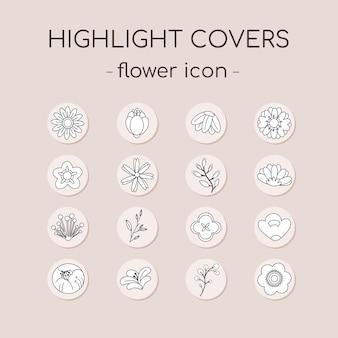 Kolekcja zestaw ikon okładki wyróżniającej instagram z konturowym kwiatem i liśćmi.