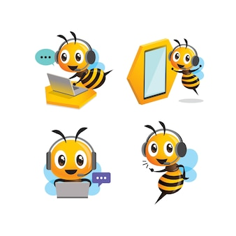Kolekcja zestaw kreskówka słodkie pszczoły noszące zestaw słuchawkowy do obsługi klienta