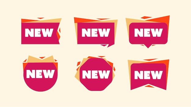 Kolekcja zestaw odznak godła lub naklejek na nowy produkt