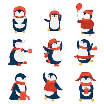 Kolekcja zestaw pingwinów kreskówka w różnych emocjach i działaniach.