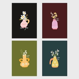 Kolekcja zestaw plakatu romantyczny wazon z kwiatami