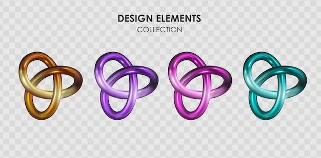 Kolekcja zestaw realistycznych 3d render metaliczny kolor gradientu kształtów geometrycznych