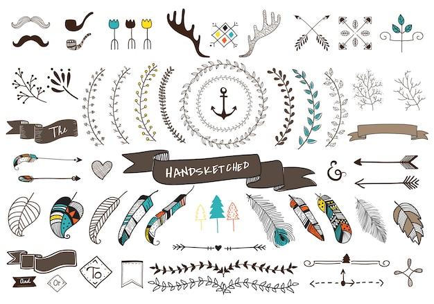 Kolekcja zestaw ręcznie nakreślone ornament etykiety
