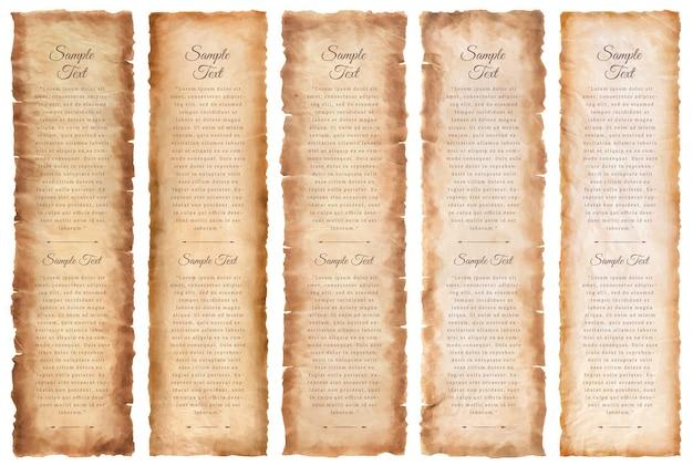 Kolekcja zestaw stary arkusz papieru pergamin w wieku lub tekstura na białym tle