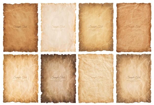 Kolekcja zestaw starych arkuszy papieru pergaminowego vintage wieku lub tekstury na białym tle.