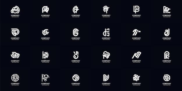 Kolekcja zestaw streszczenie pełna litera a - z monogram logo szablon projektu