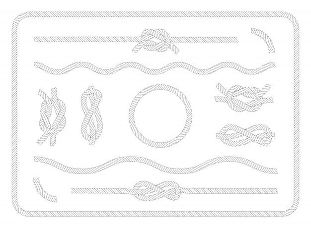 Kolekcja zestaw węzłów żeglarskich