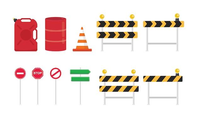 Kolekcja zestaw znaków drogowych o różnych kształtach